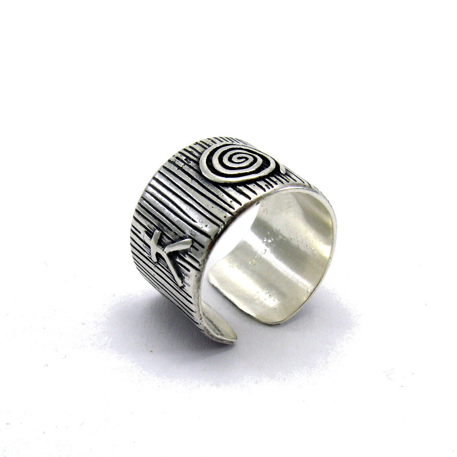 R001393 STERLING SILVER Ring Solid 925 Band Adjustable Size