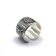 R001393 STERLING SILVER Ring Solid 925 Band Adjustable Size - $518,42 MXN