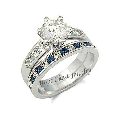 WOMEN'S SILVER TONE SAPPHIRE BLUE CZ ENGAGEMENT & WEDDING RING SET - SIZE 5-10