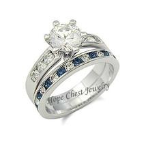 WOMEN'S SILVER TONE SAPPHIRE BLUE CZ ENGAGEMENT & WEDDING RING SET - SIZ... - £16.22 GBP