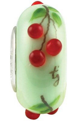 New Fenton Art Glass Jewelry Bead Cherry Delights Sterling Silver Lined Charm N