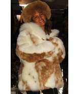 Set of white, brown Baby alpaca fur jacket with fitting fur hat, Size 2X... - $863.00