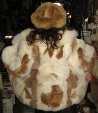 Set of white, brown Baby alpaca fur jacket with fitting fur hat, Size 2X - Small