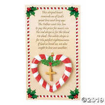 OTC FE Resin Christmas Ornament - Candy Cane Red & White Heart w/Cros - $21.24