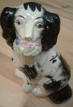 Antique Staffordshire (?) Springer Spaniel Figurine Black and White with... - $27.95