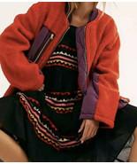 Free People Full Zip Sherpa Jacket Chili Combo Size Large NWT - $68.99