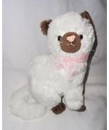 Mardel Kitty Cat Kitten Plush Stuffed Animal White Brown Pink Bow Sitting - $24.72