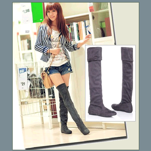 Tall Gray Faux Suede Over the Knee Boot Low Heel with DiVA Turn Down Top