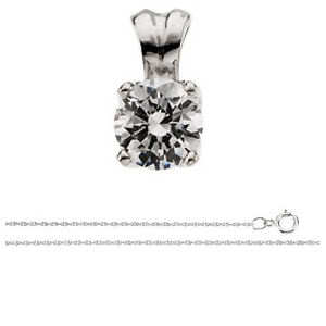 Round Diamond Solitaire Pendant 14K White Gold (1.03 Ct, E Color, SI1(Enhanced))