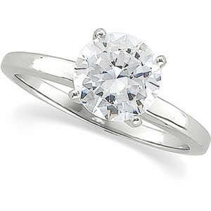 Round Diamond  Engagement Ring 14k White Gold 1.03 Ct, E , SI1(Enhanced)