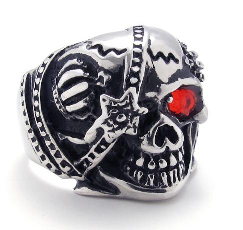 Pirate Skull Rhinestone Eye Punk Ring