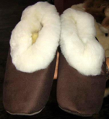 Merino fur slippers, brown house shoes,