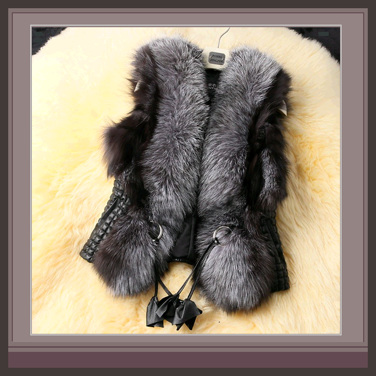 Long Hair Silver Faux Fur Fur Sleeveless Black Vest Jacket with Faux Leather image 1
