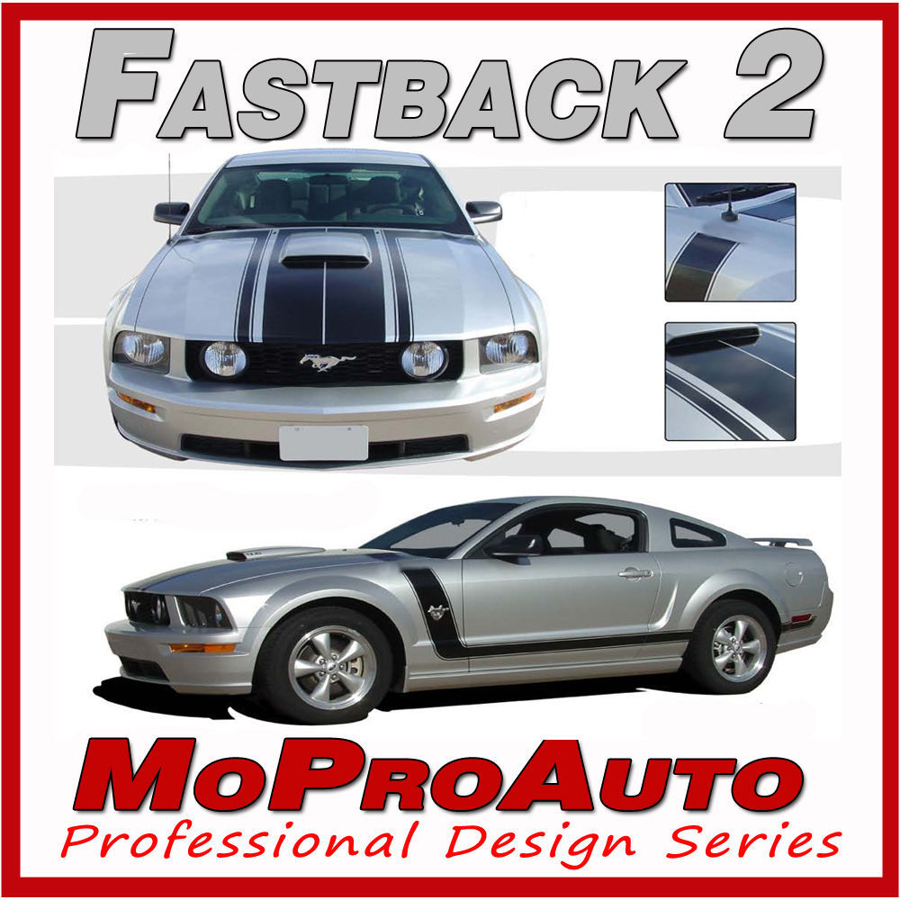 FASTBACK 2 BOSS Style Mustang GRAPHICS Stripes - 3M Pro Grade Decal 2007 880