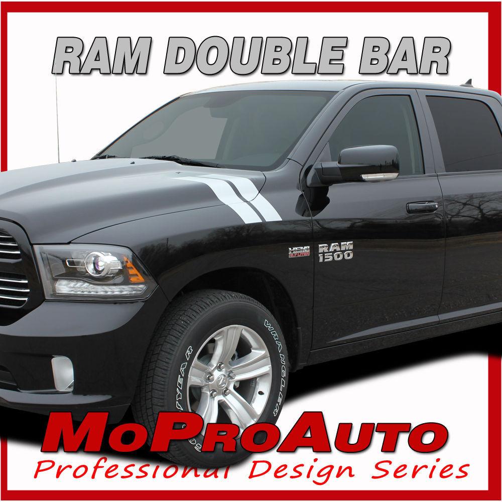 Dodge Ram Hood 2010 Hash Marks Vinyl Graphics Decals - 3M Pro Vinyl Stripes D23