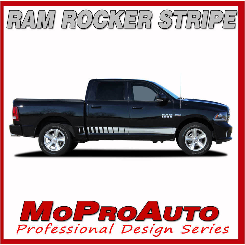 Dodge Ram 2013 Lower Rocker Panel Vinyl Graphics Decals / 3M Pro Stripes T41