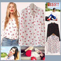 Elegant Soft Chiffon Kiss Print Button Up Shirt  w/ Front Pocket White or Black