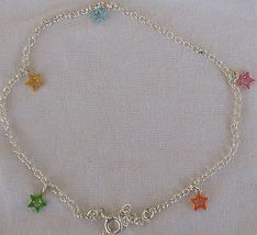 Silver anklet with colored stars 2 thumb200