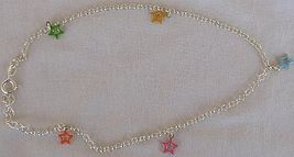 Silver anklet with colored stars 3 thumb200
