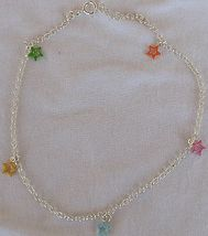 Silver anklet with colored stars thumb200