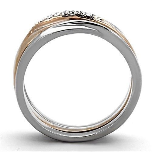 HCJ Rose Gold Tone Stainless Steel Top Grade Crystal 3 Ring Set - SIZE 7, 8
