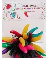 CHILI PEPPER PARTY STRING LIGHTS - CARNIVAL 35 - R,Y,G,P,P,T CINCO MEXIC... - $30.00