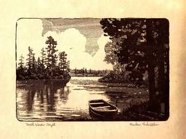 Art Print Vintage Northwood Lake Black & White Lithograph Collectible  - $12.00