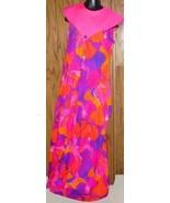 Vintage PACIFIC ISLE HAWAIIAN Dress Gown NEON hibiscus 14 - $83.99