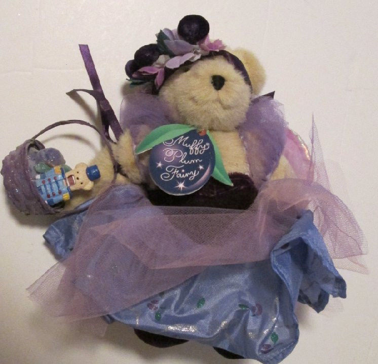 MUFFY VANDERBEAR Plush bear PLUM FAIRY dressed & SHOES with basket 8""