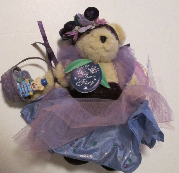"MUFFY VANDERBEAR Plush bear PLUM FAIRY dressed & SHOES with basket 8"""