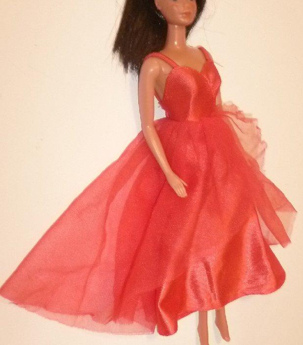 Vintage BARBIE doll Fashion red sleeveless DRESS, A Genuine Barbie Fashion tag