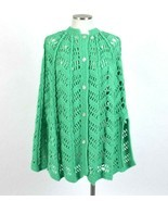 Vtg 80s Green Crochet Knit Poncho Sweater Shawl Cape Button Front Top Wo... - $31.90 CAD