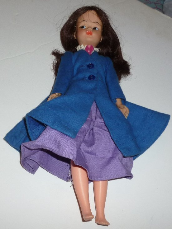 Vintage Horsman MARY POPPINS vinyl Doll dressed in coat & dress 11""