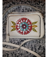 Brighton Garden Girl crossbody clutch wallet soft floral leather MINT - $40.00