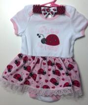 Infant Bodysuit Dress Embroidered Ladybug 18-24 months plus headband - $21.95