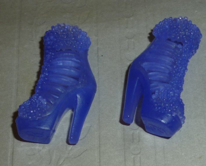 BARBIE Doll Fashions a pair of purple lacy high heel BOOTS shoes