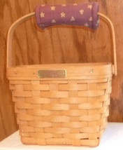 LONGABERGER 1994 hand woven DRESDEN basket with plastic liner & padded h... - $39.99