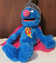 "SESAME Street Plush SUPER GROVER stuffed talking Doll 14"", 2010 Hasbro - $48.99"