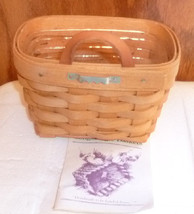 LONGABERGER 1994 hand woven AMBROSIA BOOKING basket 10120 with plastic l... - $39.99