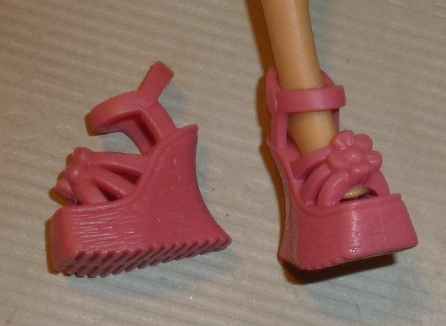 BARBIE Doll Fashions pair of pink ankle straps sandal shoes platform wedge heel