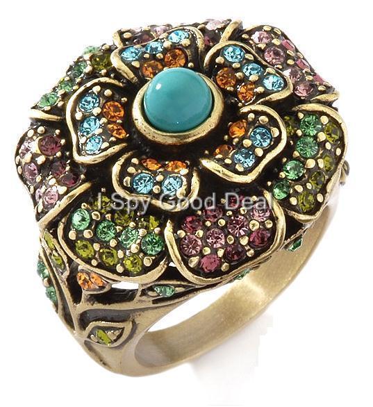 Heidi Daus Floral Crystal Ring Size 5