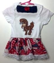 Infant Embroidered Western Horse Bodysuit Skirt 12-18 months plus headband - $21.95