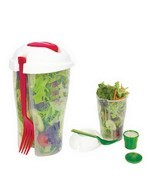 Container Serving Lunch Cup Shaker and Fork Set Vegetable Fruit Salad  - ₨598.47 INR