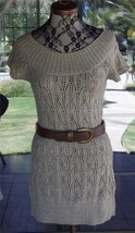 New Short Sleeve Belted Crochet Oatmeal Color Sweater Top Sz. L - $26.72