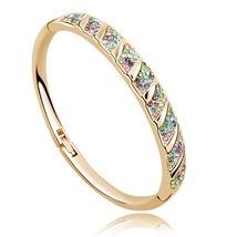 18K Gold Plated Austrian Crystal Bangle Bracelet - $7.95