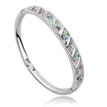 925 Silver Plated Austrian Crystal Bangle Bracelet - $7.95