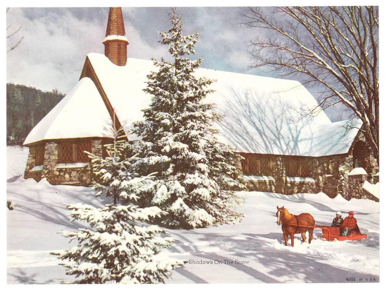Cp horse and sleigh by church