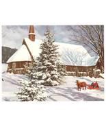 Vintage Print Calendar Art Horse Sleigh Church in Winter - $4.95