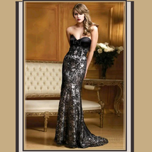 CUSTOM Black Lace Tulle Mermaid Trumpet Strapless Prom Gown with Built in Bra