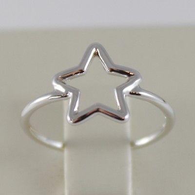 SOLID 18K WHITE GOLD BAND STAR RING LUMINOUS SMOOTH, STARS, MADE IN ITALY